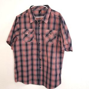 SE New Nation Red Plaid Button up Shirt size 3XL